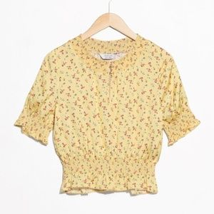 Floral Print Ruched Blouse in Yellow